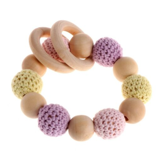 Wooden Baby Teether Bracelet Crochet Beads Teething Ring Play Chewing Toy Hot