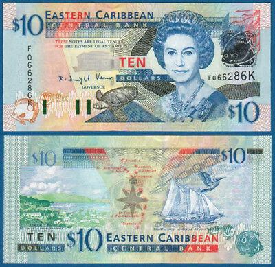 2003 Unc P Kitts 10 Dollars Impartial East Caribbean States / St 43k