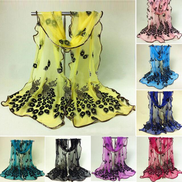 Women Ladies Peacock Lace Voile Chiffon Neck Scarf Soft Wrap Shawl Stole Scarves