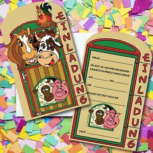 bauernhof einladungskarten - farm tiere einladungen