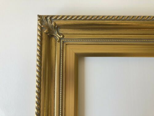 """Wood//Gesso Picture Frame 12x16/"""" Vintage Gold Color Classic Ornate 296G"""