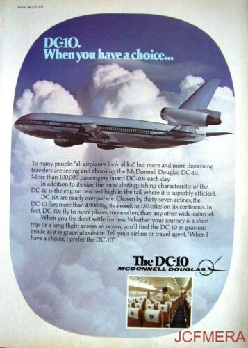 Original Aircraft Print AD 1977 McDonnell Douglas /'DC-10/' Airplane Advert #3