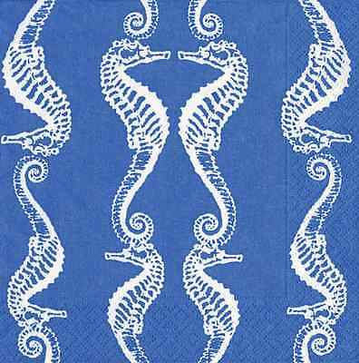 Paper Cocktail Napkins Beverage Napkins Nautical Theme Seahorse Blue 40