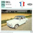 SIMCA ARONDE P60 1958 1964 CAR VOITURE FRANCE CARTE CARD FICHE