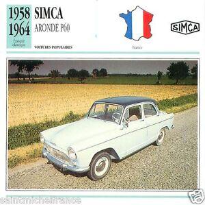 SIMCA-ARONDE-P60-1958-1964-CAR-VOITURE-FRANCE-CARTE-CARD-FICHE