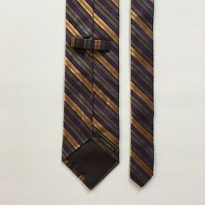 c09ec0e98662 Joseph abboud tie purple gold green stripes 100% silk made in italy ...