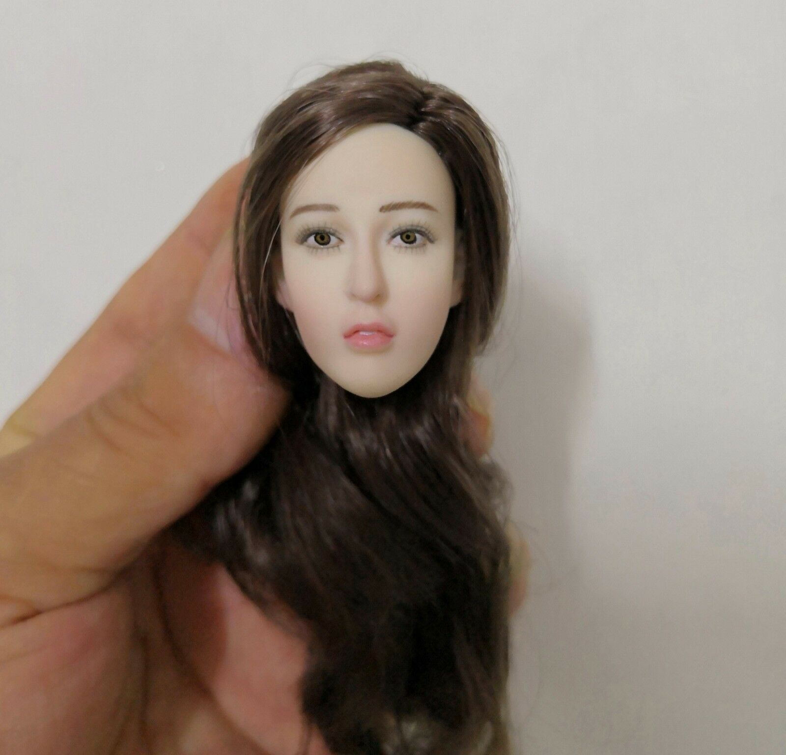 1 6 Asian Head Sculpt Head Carving Planted Curls Fit 12  Female Body Xmas Gift