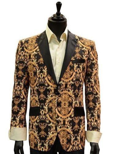 Angelino Herren Schwarz Gold Jahrgang Königsblau Römisch Design Kleid Trendy