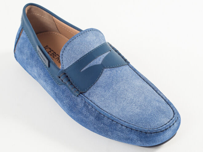 New Iceberg Light bluee Suede Made in  Moccasin Size 44 US 11