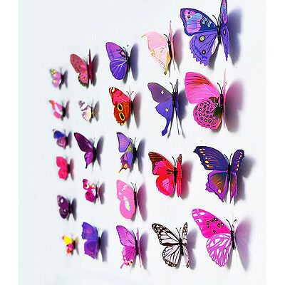 12 piezas 3D Domire mariposas hacer pegatinas pared crfats mariposas