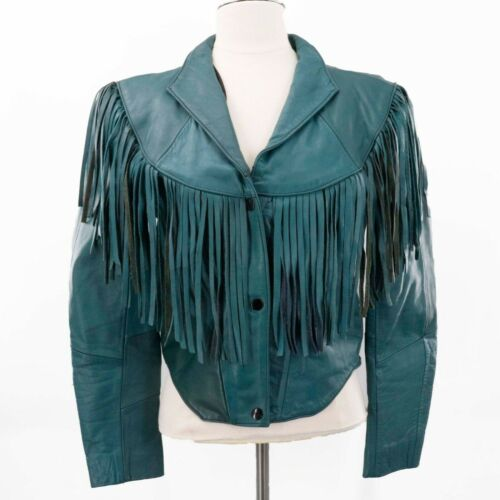 1980s Teal Crop Long Sleeve Fringe Leather Jacket