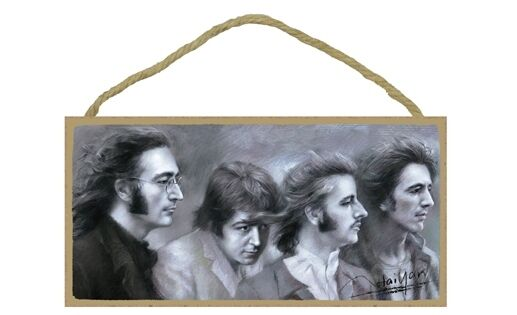"""IN MY LIFE I LOVE YOU MORE The Beatles Primitive Wood Hanging Sign 5/"""" x 10/"""""""