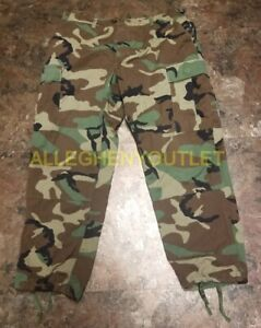 US Military Woodland Camo Ripstop 100% Cotton BDU PANTS Trousers Many Sizes VGC