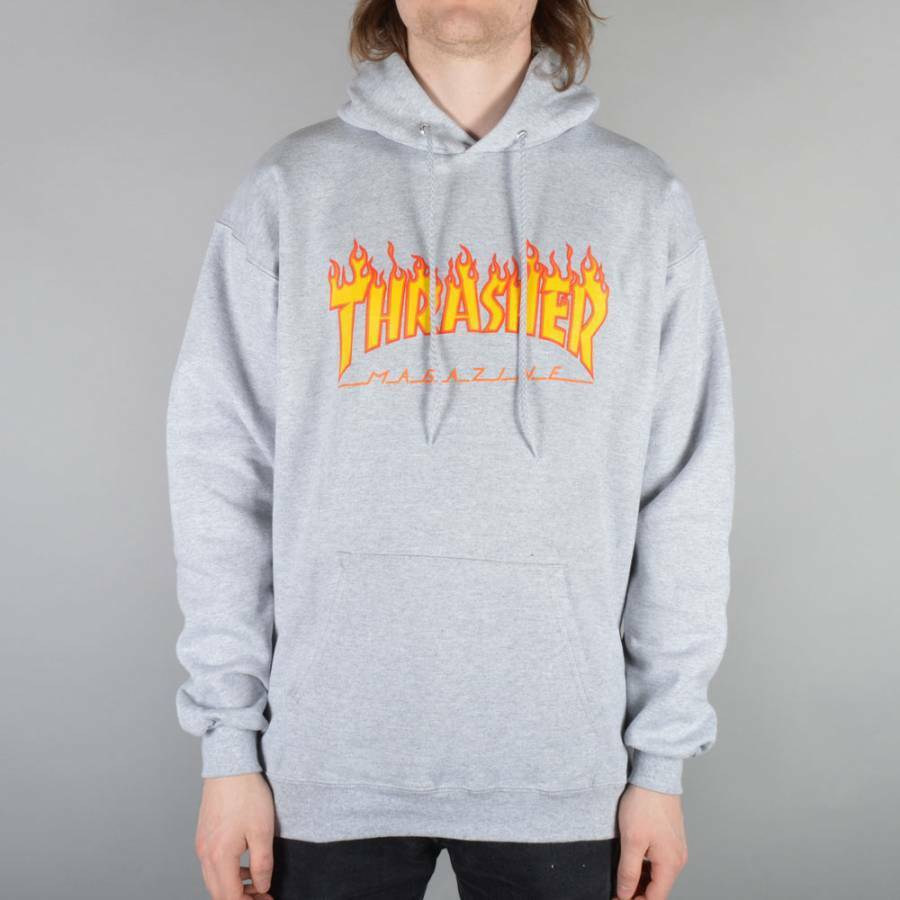 Thrasher Flames Hoodie - Heather Grey
