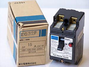 FUJI-ELECTRIC-EG32F-15A-AUTO-CIRCUIT-BREAKER-AC-100V-200V-30mA-2-POLE