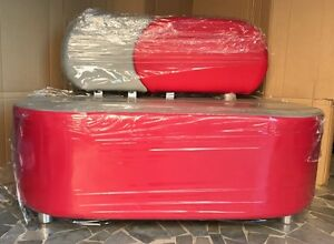 Divano 2 posti sala dattesa studio prodotto italiano rosso grigio