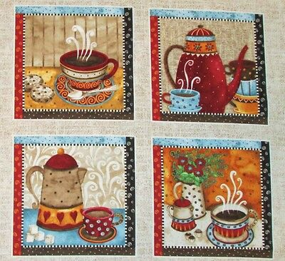 """Coffee Cup Pot Java Fabric Quilting Crafting 7"""" Blocks Quilt Squares #63"""