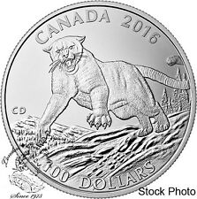 Canada 2016 $100 for $100 Cougar Silent Giant of the Americas Silver Coin