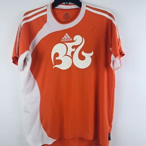 Details about Adidas Mens Orange White Soccer Graphic Tribal Climalite Jersey S Shirt EUC