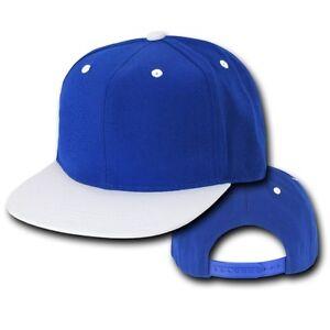 Royal Blue White Vintage Flat Bill Snapback Snap Back Baseball Cap ... 07e38a45c18