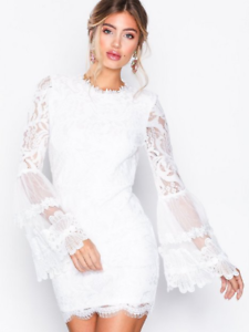Missguided-White-High-Neck-Bell-Sleeve-Key-Cut-out-Back-Lace-Dress-Size-8