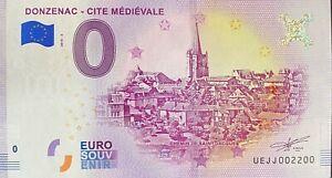 BILLET-0-EURO-DONZENAC-CITE-MEDIEVALE-FRANCE-2018-NUMERO-2200