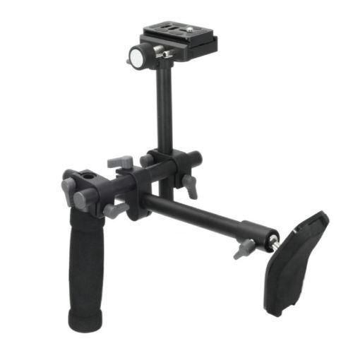 Infatigable Shoulder Mount Support Rig Stabilisateur Poignée Grip + Qr Plaque De Base Fr Dslr Caméra