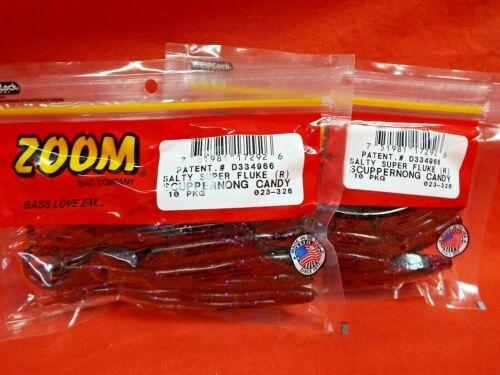 2 PCKS #023-326 SCUPPERNONG CANDY ZOOM Salty Super Fluke 10cnt
