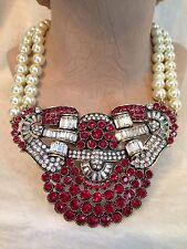 HEIDI DAUS Pearl and Red Swarovski Crystal GUILTY PLEASURE Drop Necklace