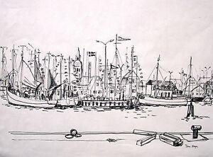 Tom Saltos 1906 1976 Hamburgofibra Lápiz De Dibujopuerto Con