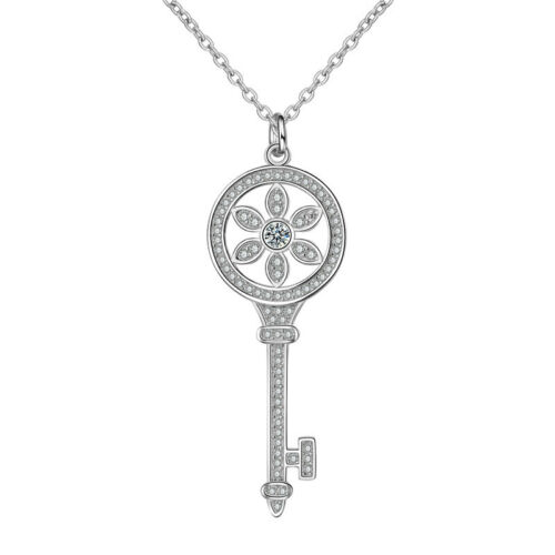 925 Sterling Silver Zirconia Sun Flower Key Pendant Necklace Women Fine Jewelry