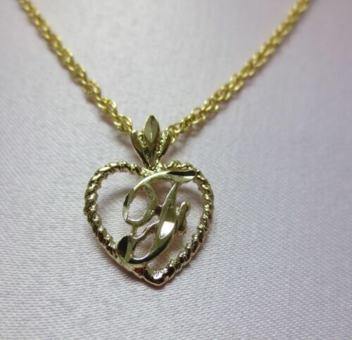 "14KT GOLD EP PERSONALIZED LETTER F HEART INITIAL WITH AN 18/"" ROPE CHAIN"