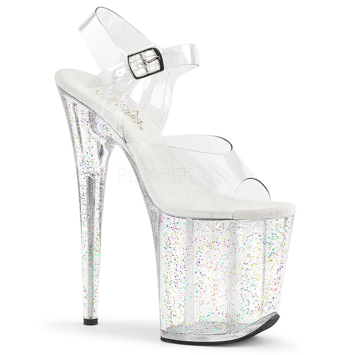 8  Clear Glitter Super High Platform Stripper Dancer Heels Pleaser shoes Womans