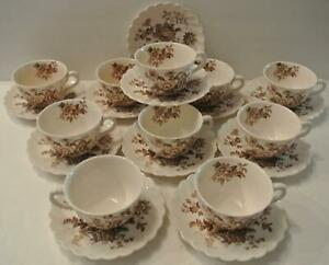 10-SETS-Royal-Staffordshire-Charlotte-Brown-Clarice-Cliff-England-Cups-amp-Saucers