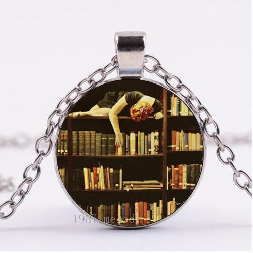 Photo Cabochon Verre Collier argent pendentifs ( Library