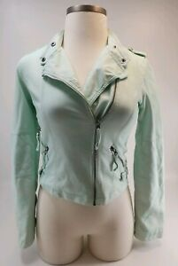 Maurices Light Green Faux Leather Tailored Moto Jacket Zip Front Womens Small