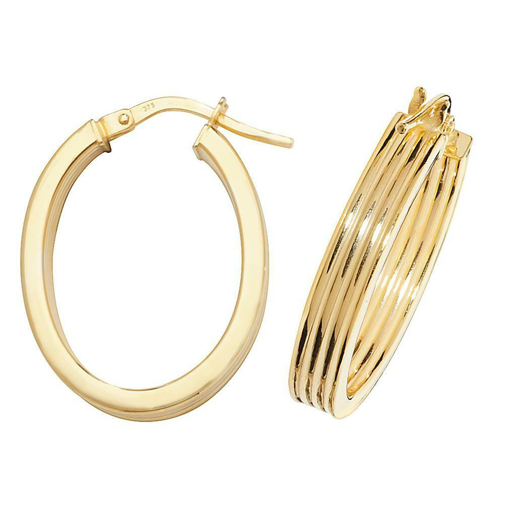 9ct Yellow gold Flat Ribbed 20x15mm Oval Shaped Hoop Earrings Weight 1.7g