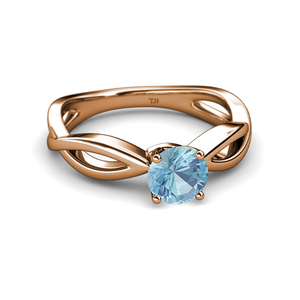 Aquamarine Infinity Solitaire Engagement Ring 1.00 ct in 14K pink gold JP 111350