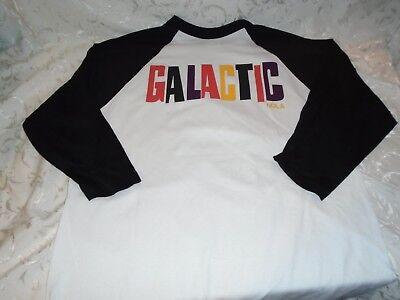 Large Black and White GALACTIC NOLA American Jam Band 3//4 sleeve Length T-Shirt.
