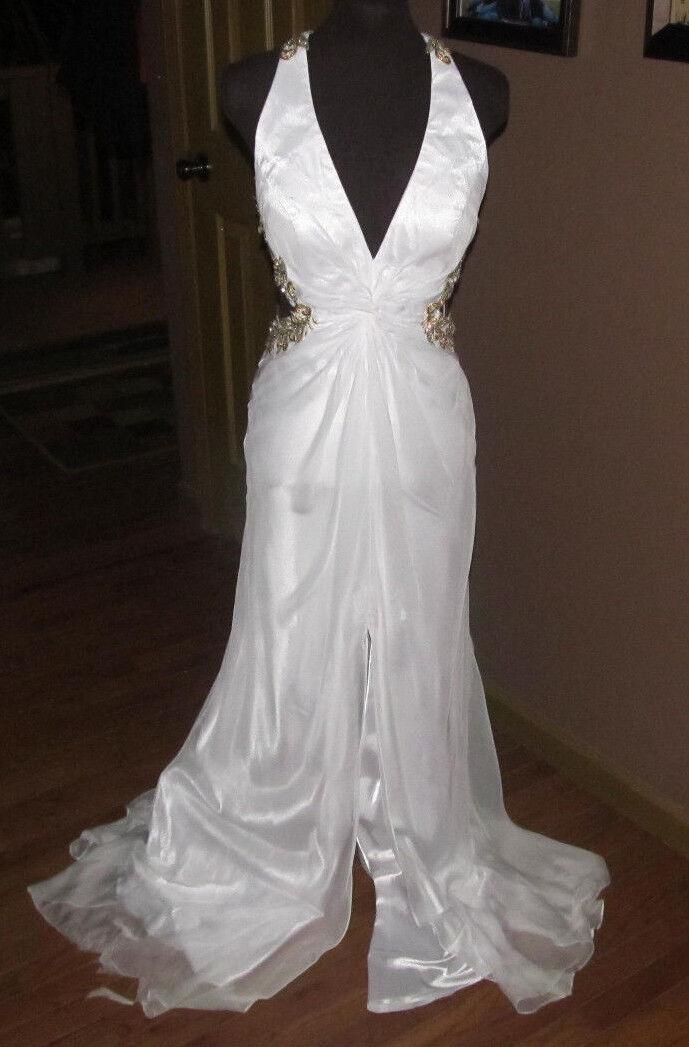 Womens Formal Prom Dress White Gold Straps w/ Rhinestones Size 8 - 10