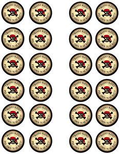 Merci pirate Comestibles Cupcake Gâteau Gaufrette Fée Papier Toppers x 24