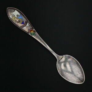 Quebec-Canada-Souvenir-Spoon-Sterling-Silver-Inlaid-Mosaic-Coat-of-Arms