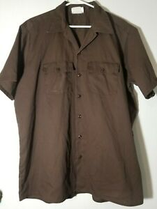 Vtg-Dickies-Work-Shirt-Shortsleeve-Brown-Size-X-Large-Made-in-USA