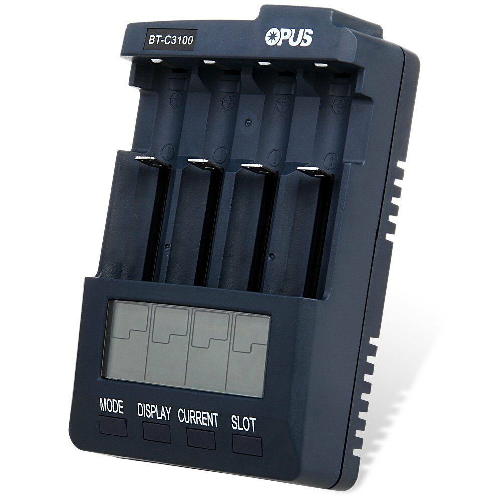 OPUS BT C3100 V2.2 Intelligent 4 Slot Li-ion NiCd NiMh LCD Battery Charger EU PL