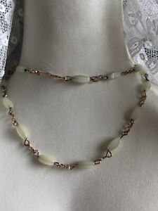 1930s-Style-Glass-Necklace-Opalescent-Wired-Metal-Vintage-Retro-Hook-Clasp-Old