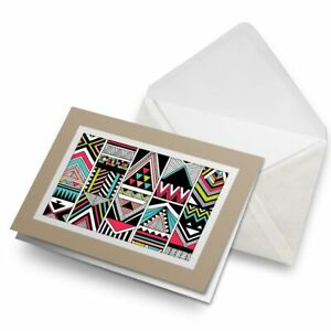 Greetings-Card-Biege-Aztec-Tribal-Pattern-Ski-Retro-21924