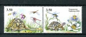 Tadjikistan-2016-neuf-sans-charniere-tortues-2v-se-tenant-set-dragonflies-insectes-reptiles-timbres