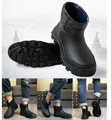 Mens Rain Boots Waterproof Ankle Calf Flats Fishing No-Slip Round Toe Shoes Size