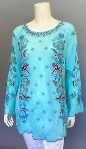 JOHNNY-WAS-Blouse-NICO-Tunic-Embroidered-BUTTERFLIES-amp-FLOWERS-Blue-S-250
