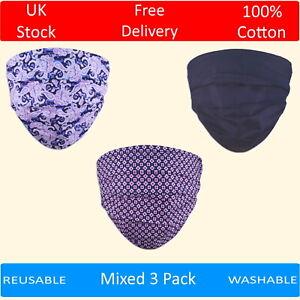 Pack of 3 Cotton Face Masks Washable Reusable Plain Paisley